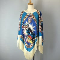 Vintage Native American Cape Poncho, Fringed Poncho, Southwestern Cape, Southwest Poncho, Boho Hippie Poncho, Ethnic Top, Blouse