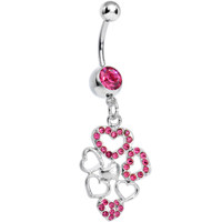 Pink Gem Clusters of Love Heart Dangle Belly Ring | Body Candy Body Jewelry