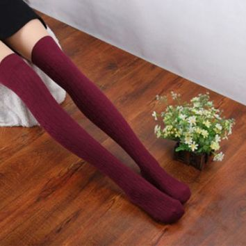 Fairies tell 1 Pair New Cotton Women Knit Over The Knee Socks Thigh Stockings Spiral Pattern High Socks Calcetines Largos EY11