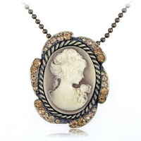 Big Yellow Synthetic Topaz Crystal Cameo Custom Fashion Pendant Necklace