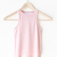 Ribbed Crop Tank Top - Rose