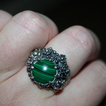 SALE..Vintage Big  Sterling Silver flowers , frog   with  Malachite  stone, garden   Ring Twig Diorama  Stunning in size 8.5