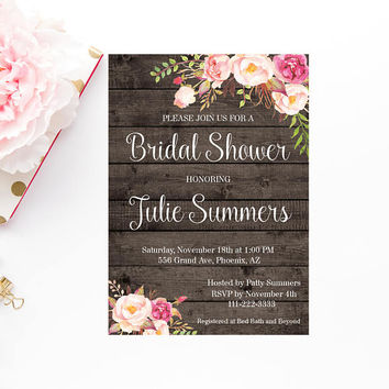 Rustic Bridal Shower Invitation, Printable Invitation, Printable Rustic Bridal Shower, Barn Wood Bridal Shower Invite, Instant Download