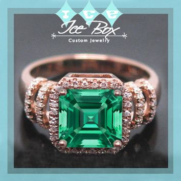 Cultured Emerald Engagement Ring 3.2ct, 8mm Asscher Cut Cultured Emerald set in a 14k Rose Gold Diamond Halo Setting