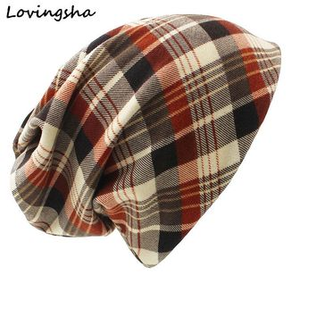 LOVINGSHA Brand Winter Dual-use Hat For Ladies thin Vintage Plaid Design Skullies And Beanies Women Scarf Face Mask HT021