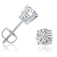 IGI Certified 1ct TW Round Diamond Stud Earrings in 14K White Gold with Screw Backs