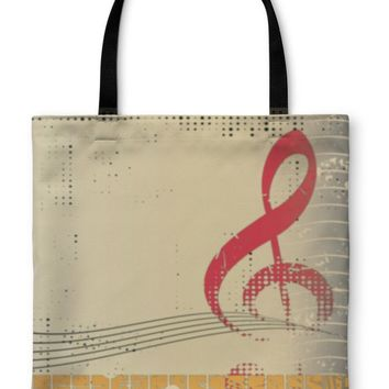 Tote Bag, Piano Keyboard and Treble Clef on Grunge Illustration