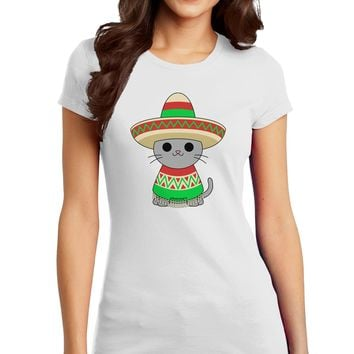 Cat with Sombrero and Poncho Juniors T-Shirt by TooLoud