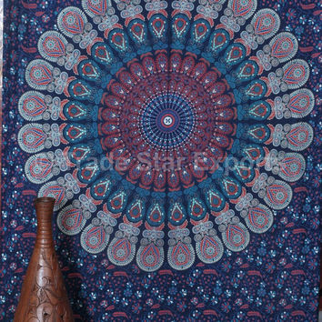 Boho Mandala Tapestries, Indian Wall Hanging, Twin Bedding, Beach Blanket, Dorm Tapestry, Picnic Table Cloth, Hippie Tapestries, Gypsy Decor