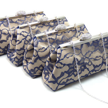 Set of Four Champagne and Navy Blue Bridesmaid Clutches 5% Off