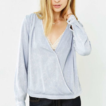 BDG Chambray Surplice-Front Top - Urban Outfitters