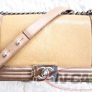 Authentic Chanel Galuchat Stingray Flap Medium Boy Bag Nude Calfskin SHW
