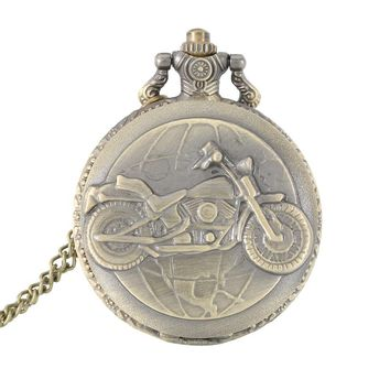 Lover Watch Alloy Motorcycle Motorbike Pocket Watch Necklace Pendant Chain Clock Gift For Couple Father LL@17