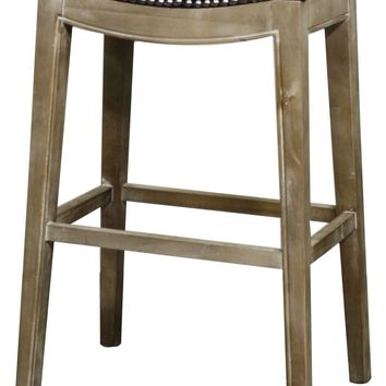 Elmo Bonded Leather Bar Stool Mystique Gray Frame, Black