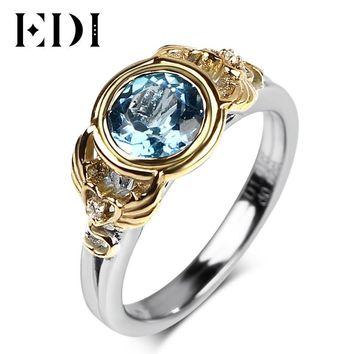 EDI 6.5mm Natural Blue Topaz Engagement Ring For Women 925 Sterling Silver 18k Gold Plated Angels And Demons Wing Fine Jewelry