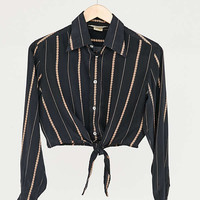 Vintage Black Abstract Stripe Silky Tie-Front Top | Urban Outfitters