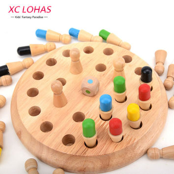 Wooden Memory Chess Board Game Checkerboard Memory Training Game Table Game Learning Education Toys for Children Fast Shipping