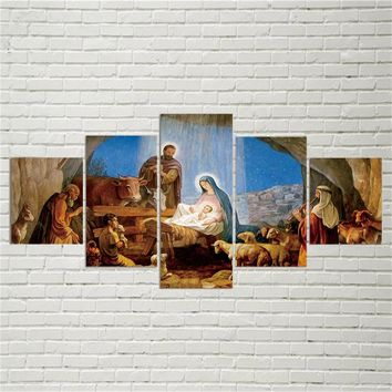 Wall Art 5 Pieces Birth Christian Jesus Paintings Canvas Pictures Frameworks Home Decor For Living Room HD Prints Posters TYG