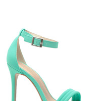 Mint Faux Nubuck Stitched Single Sole Ankle Strap Heels