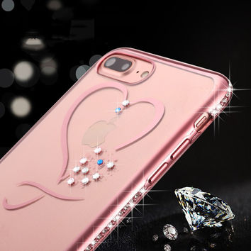 Crystal Phone Cases For iphone 7 Ultra Thin Clean Soft TPU Rose Gold Plating Glitter Diamond Cover For iphone 7 7 Plus 6 6s Plus-004-05-Girllove100