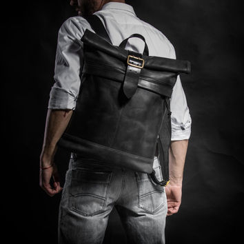 Leather backpack Roll top backpack by Kruk Garage Crazy Collection Made of black cowhide leather with vintage buckle WW2 era Men's backpack