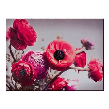 Bold Bouquet with Glitter Canvas Wall Art