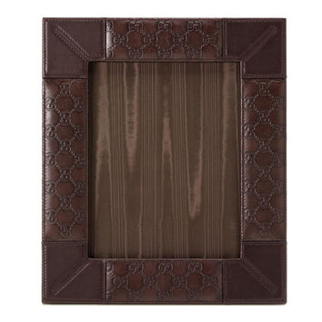 GUCCI 247252 Guccissima GG Brown Leather Large Photo Picture Frame 9x7