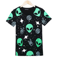 Emoji Alien T Shirt Cartoon Graphic Space 3D Print Galaxy T-shirt