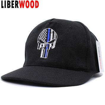Thin Blue Line Punisher Skull Fit Ball Cap hat Police Law Enforcement USA flag tactical SWAT baseball cap Trucker hat Punisher