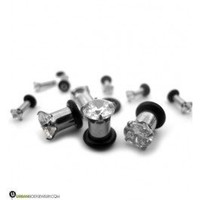 Steel CZ Diamond Ear Tunnels | Sold in Pairs | UrbanBodyJewelry.com