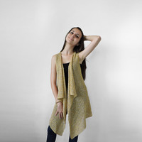 FREE SHIPPING Yellow and beige knit vest Summer long vest Light summer wear Cotton long vest Knit lightweight overcoat