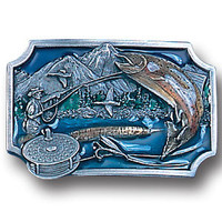 Fly Fishing Enameled Belt Buckle