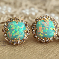 Mint Opal stud green sea foam Crystal earring bridesmaid earrings - 14k 1 micron Thick plated gold post earrings Swarovski rhinestones .