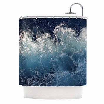 "Suzanne Carter ""Sea Spray"" Navy Ocean Shower Curtain - Outlet Item"