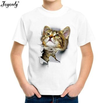 Joyonly 2018 Boys Girls Summer Animal cat Print T-Shirt Kids Apparel Baby Clothes Children Hipster Fashion T shirt Cool Tops