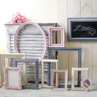 Pink and Gray Ornate Picture Frames, Pink Nursery Frames, Oval Frames, Chalkboard Frame, Shabby Chic Frames, Painted Frames, Ornate Frames
