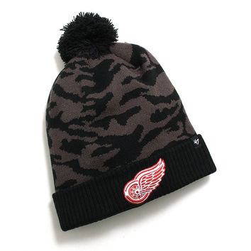 Detroit Red Wings M Twenty Nine Cuff Knit Pom Beanie Charcoal