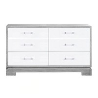 Worlds Away Grey Cerused Oak 6-Drawer Crawford Dresser