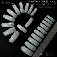Online Shop French Tapered Deep-C Curve Nail Tips 100x Natural Ivory False Cocktail Curve Nails Elongated Arch Half Cover Nail-Free Shipping | Aliexpress Mobile