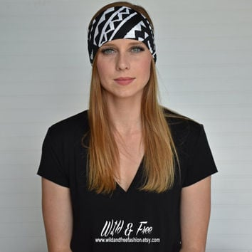 Yoga headband, Workout Fitness headband, Ladies fashion headwrap, Black and white tribal headband, Womens stretch fabric headband, Turban