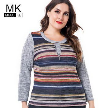 Miaoke Long Sleeve T Shirts Women 2018 Autumn Clothing ladies Fashion Oversized Vintage striped Graphic Tees Plus Size Tops