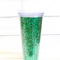 Solid Green Glitter Tumbler {22oz}