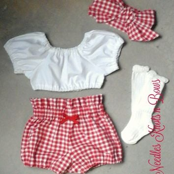 Girls Boho Outfit, Red Gingham Bloomers with White Crop Top, Baby Girls Bohemiam Outfit