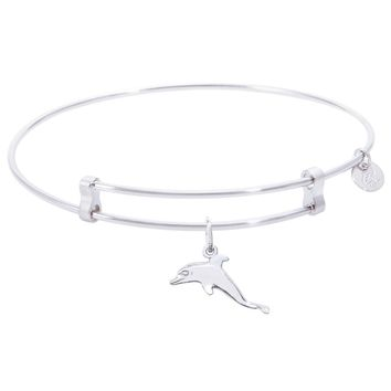 Sterling Silver Confident Bangle Bracelet With Dolphin Charm