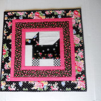 Black Scottie Dog Quilted Table Topper Runner Black White Bright Pink