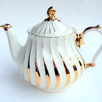 Vintage James Sadler Porcelain Teapot, England, 1950s, 22K gold and Cream, #2737, 2-3 Cup, Tea Party, Serving, Collectible, Ornate