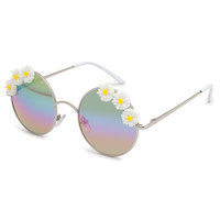 Full Tilt Daisy Love Round Sunglasses White Combo One Size For Women 23406816701