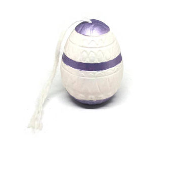 Hand Painted Pysanky Style Ceramic Egg / Vintage Ceramic Easter Egg / Easter Egg Figurine / Tabletop Art Deco Egg / White and Purple Egg