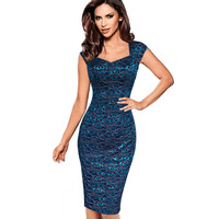 Vfemage Womens Sexy Elegant Summer Floral Flower Lace Cap Sleeve Slim Casual Party Fitted Sheath Bodycon Dress 2056