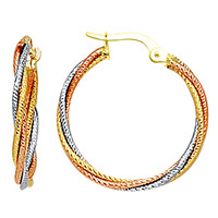 10K 3 Tone White, Yellow And Rose Gold Triple Braided Cables Round Hoop Earrings